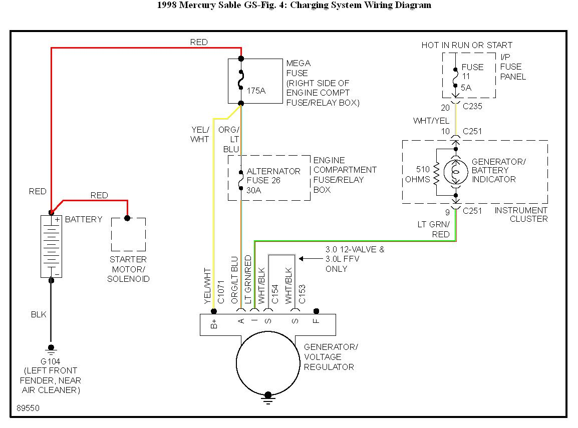 2000 Mercury Cougar Alternator Wiring Diagrams Sable Engine Diagram Schematic Charging For 2 5 Liter 1999 Starting