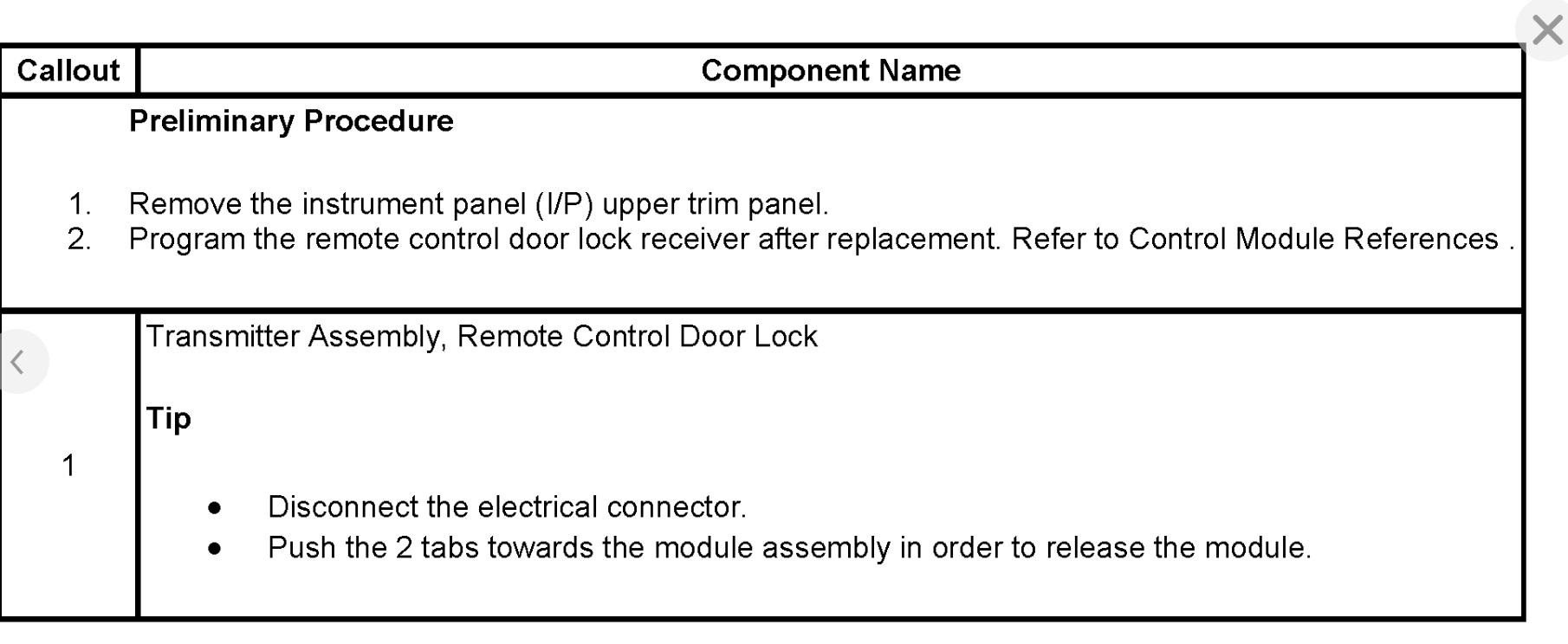 2006 chevy impala remote control door lock receiver