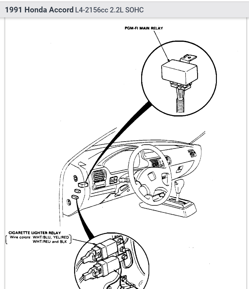 91 honda accord fuel pump relay location