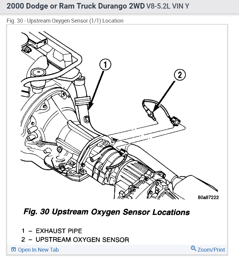 2005 dodge durango o2 sensor location