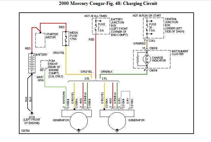2000 mercury cougar alternator wiring