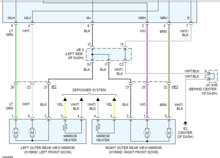 Side Mirror Wiring Diagram: I Have the Car Listed Above XLE Model...2CarPros