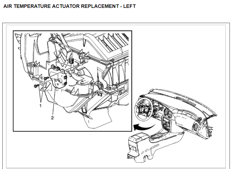 blows out cold air on passenger sideView The Left Air Temperature Actuator Is 5 In The Following Diagram #2