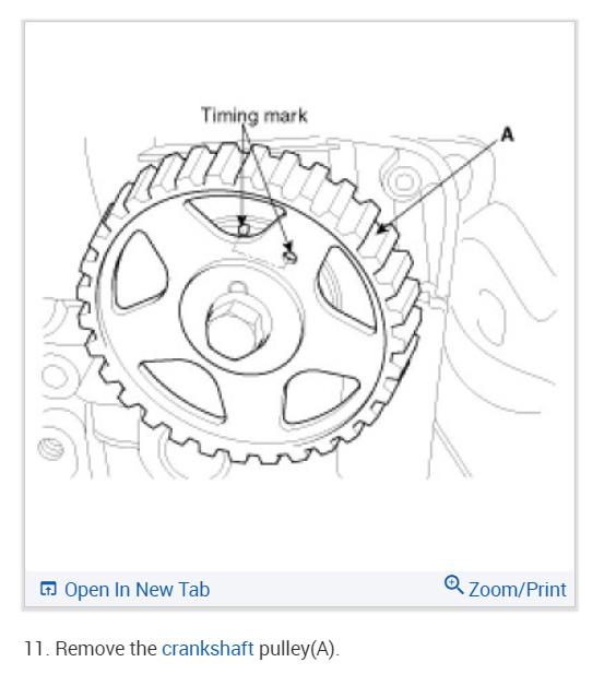 Hyundai I10 Kappa Engine Timing Marks