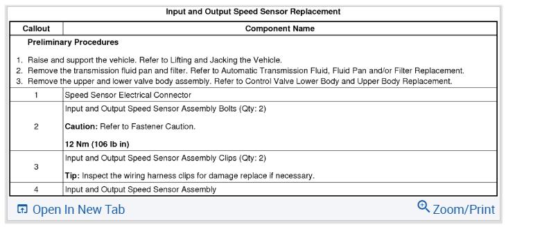 Input Speed Sensor Replacement
