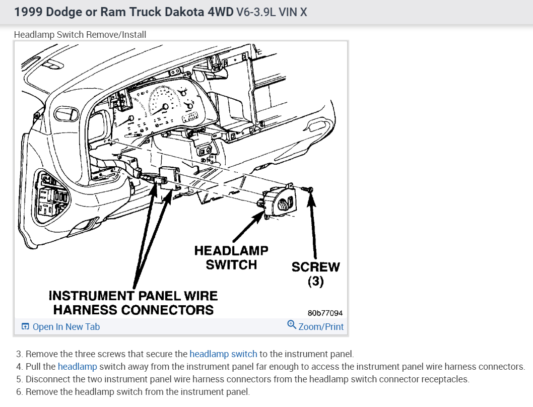 2000 Dodge Dakota Starting System Schematic Diagram