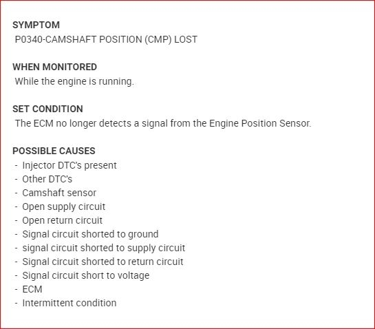 Camshaft Position Sensor Location: Truck Has Code P0340