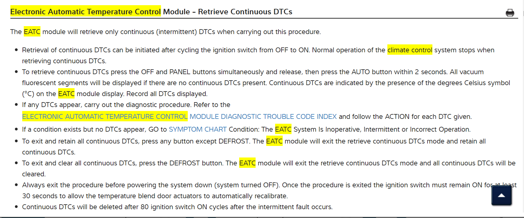AC Automatically Defaults to Defrost and Air Speed Cannot Be