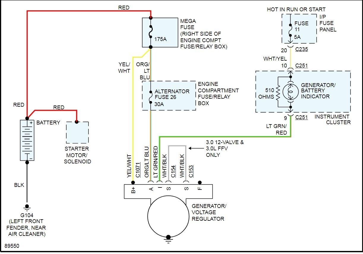 2002 ford taurus charging system wiring diagram alternator not working  battery light stays on in dash how do i  alternator not working  battery light