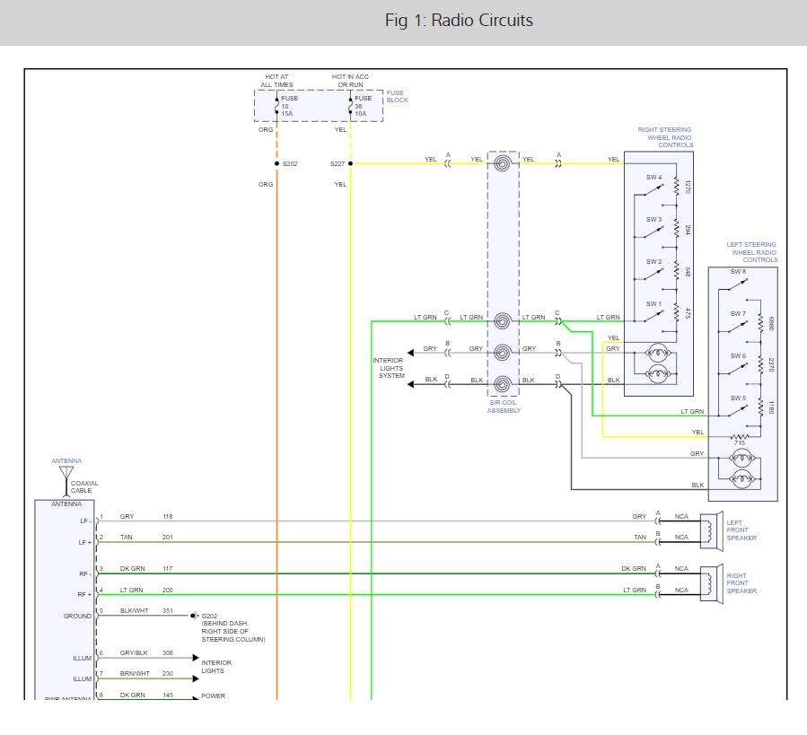 Radio Wiring Diagram: Radio Wiring Diagram for a 1996 Chevy Lumina...2CarPros