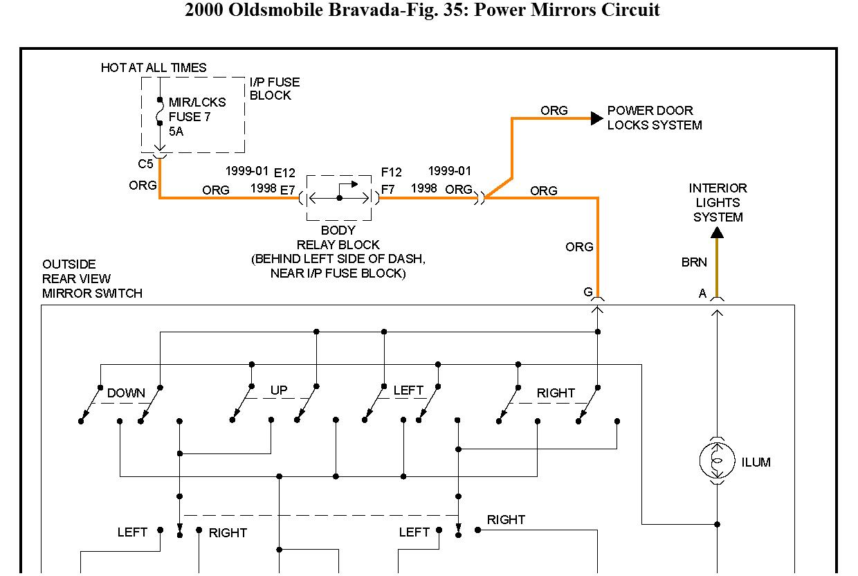 2002 Oldsmobile Bravada Fuse Diagram Wiring Library 2000 Intrigue Electric Adjusting Side View Mirrors Do Not Move Thumb