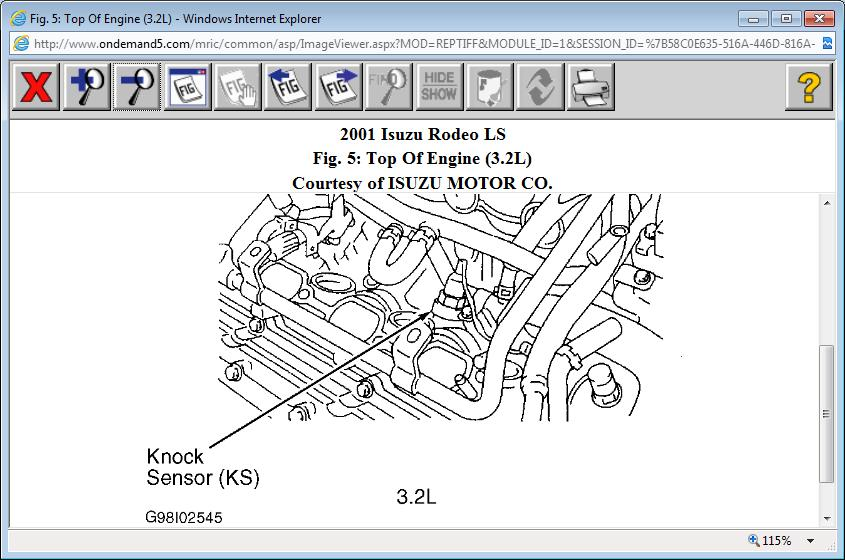 original where is the knock sensor located on the 3 2l 2001 isuzu rodeo? 2000 isuzu rodeo engine diagram at aneh.co