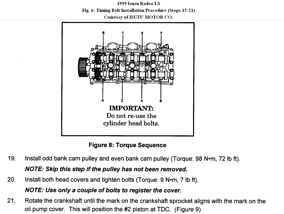 Need Step Change Water Pump And Timing Belt 1999 Isuzu Amigo Thumb
