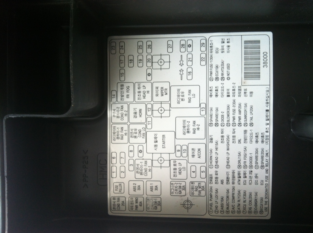Original on 2012 Hyundai Sonata Fuse Panel