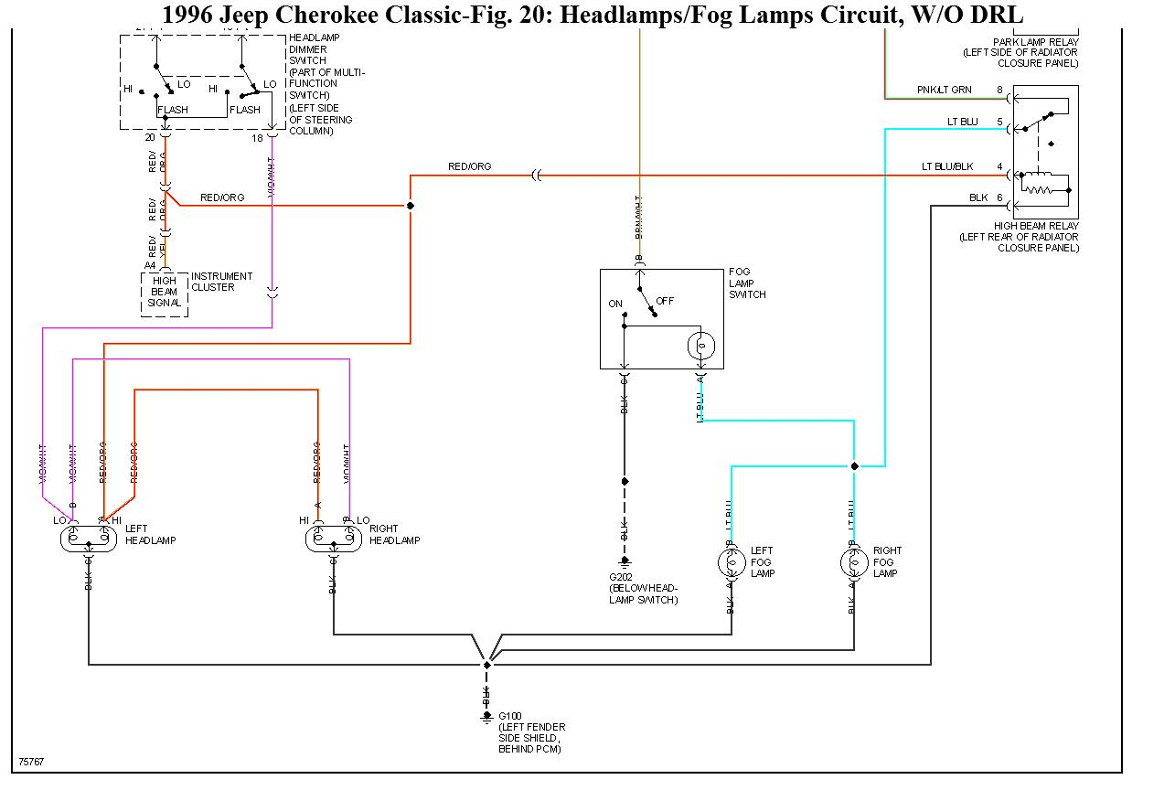 headlight wiring diagram hi i have a 1995 jeep cherokee. Black Bedroom Furniture Sets. Home Design Ideas