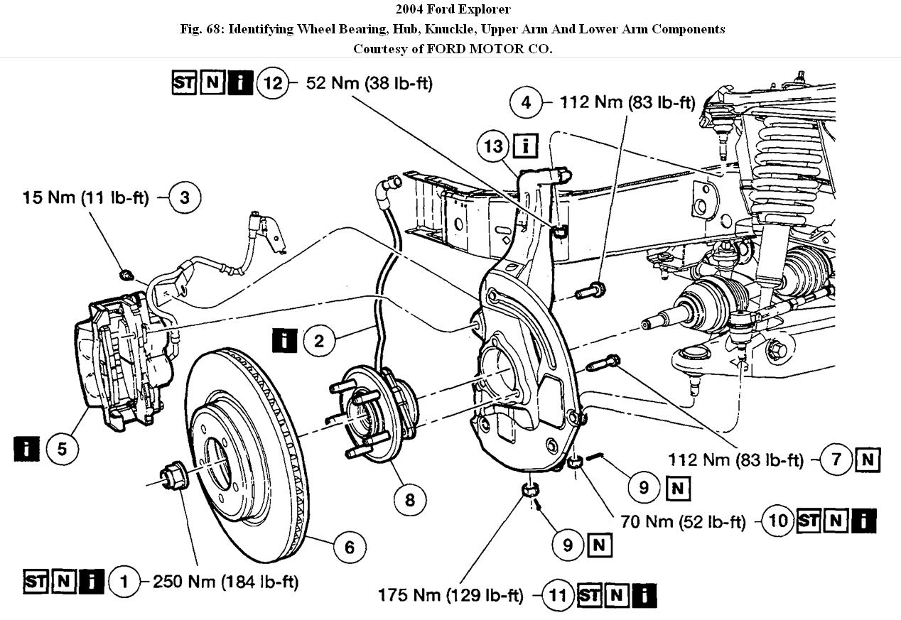 service manual  diagram to change wheel bearing on a 2004