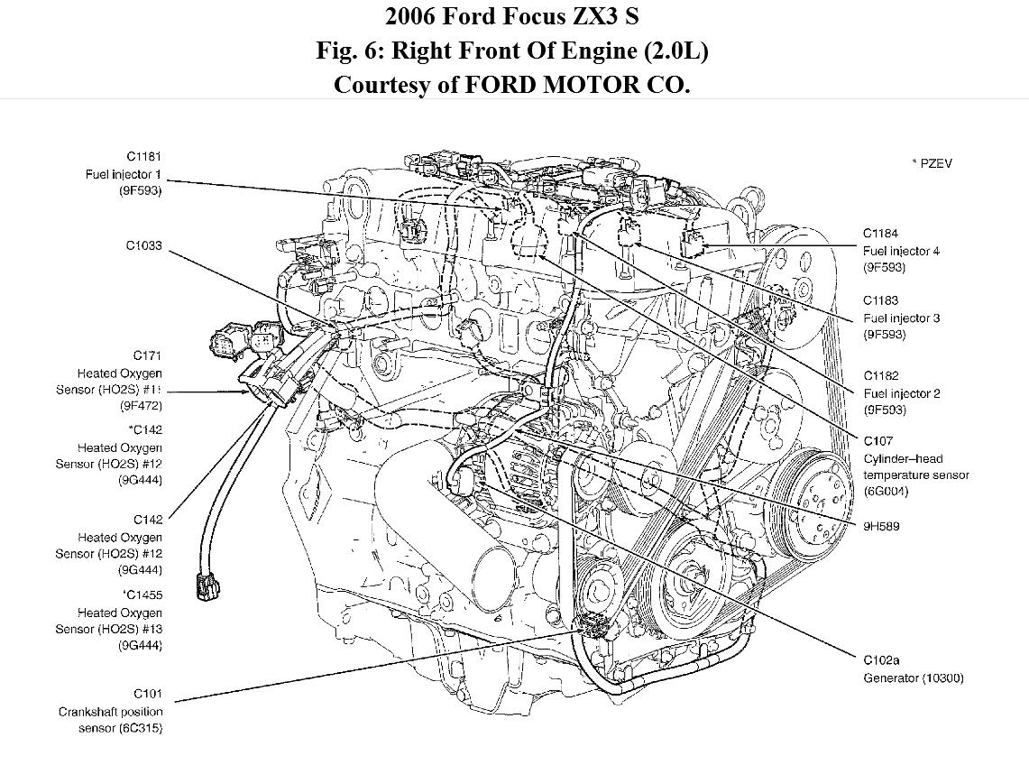where is the crankshaft position sensor located 2012 ford focus engine bay diagram 2014 ford focus engine diagram