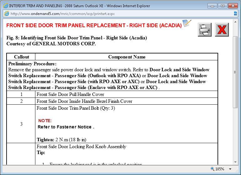 service manual  remove 2008 saturn outlook window control