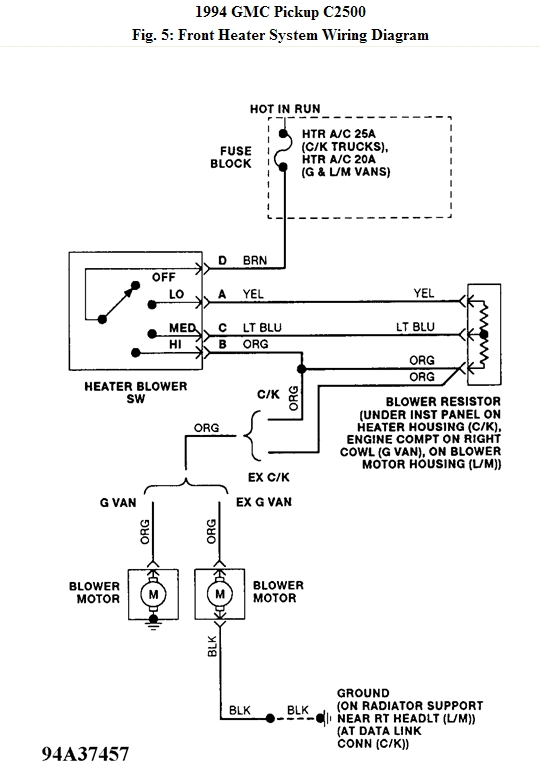 94 S10 Blower Motor Wiring Diagram