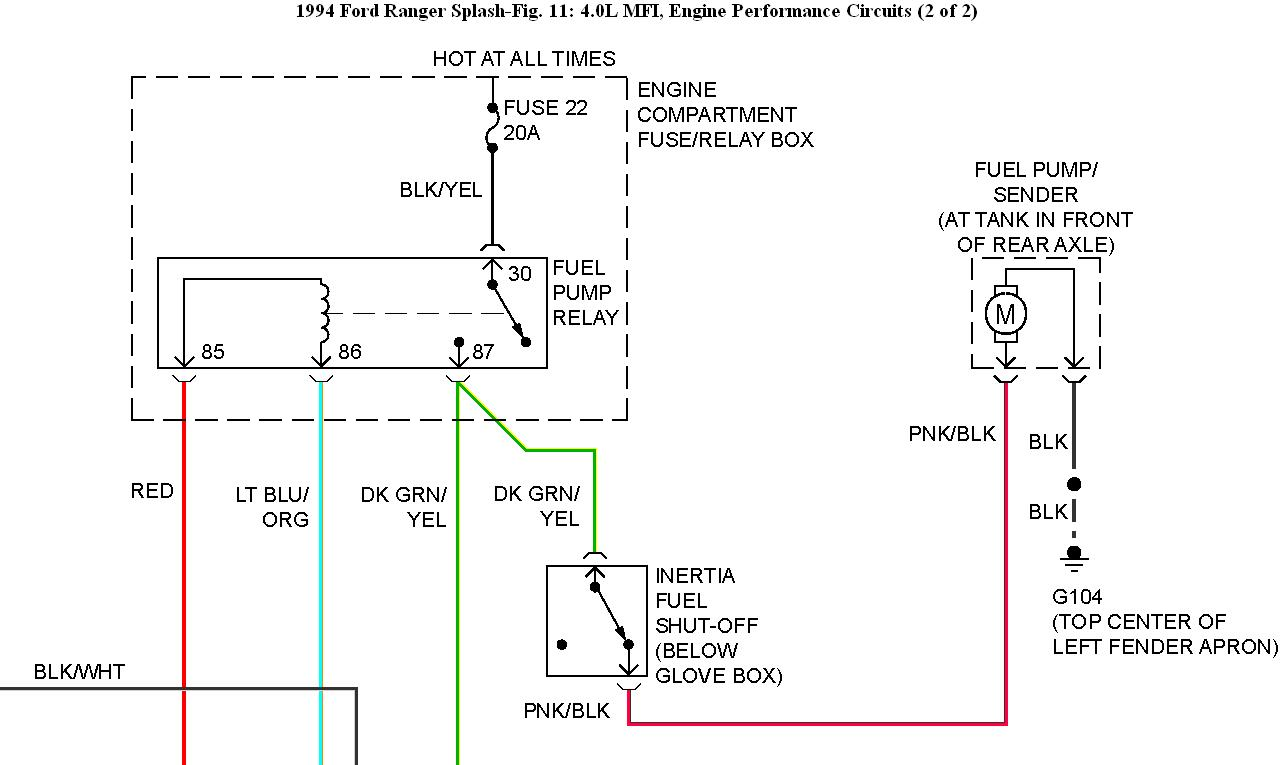 Fuel Pump Wiring: Fuel Pump Replaced No Power to It  L Ford Engine Wiring Diagram on ford 4.0 v6 engine, ford aerostar 3.0 engine, 2000 windstar 3.8 engine diagram, jeep cherokee 4.0 engine diagram, jeep 4.0 vacuum diagram, 2003 ford explorer intake manifold diagram, ford cruise control diagram, toyota 4.0 engine diagram, 2006 toyota rav4 engine diagram, chrysler 4.0l engine diagram, 2006 mustang engine diagram, ford 4.0 sohc problems, 04 explorer timing chain diagram, jeep 4.0l engine diagram, ford 4.0 sohc exploded-view, ford automatic transmission diagram, 1997 mazda b2300 engine diagram, ford ranger 4.0l engine, 2002 mercury sable engine diagram, ford vulcan engine,