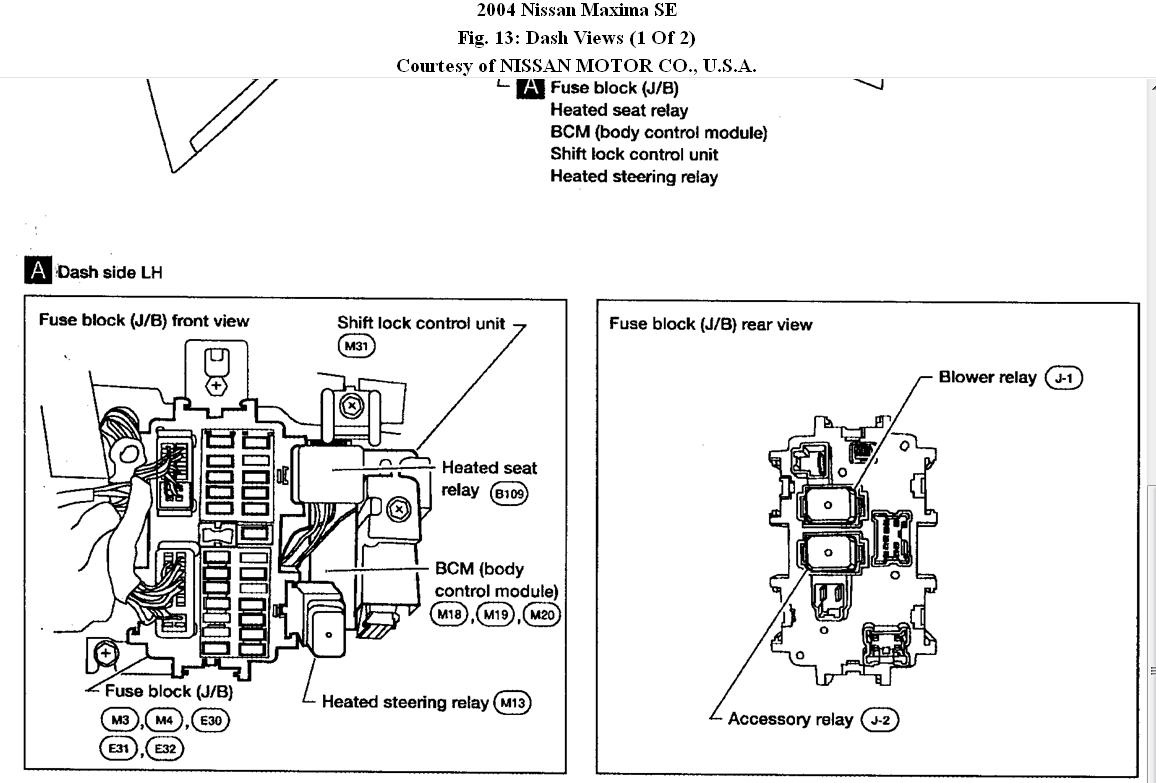 32 2004 Nissan Maxima Fuse Box Diagram Under Hood