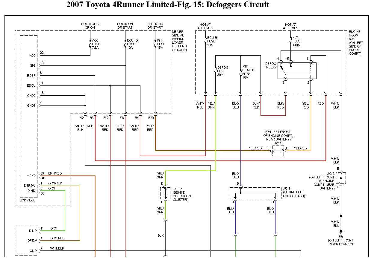 1994 Toyota 4runner Vacuum Diagram Wiring For What Fuse Controls The Rear Window Defroster Defogger My Book Rh 2carpros Com 1995 Parts