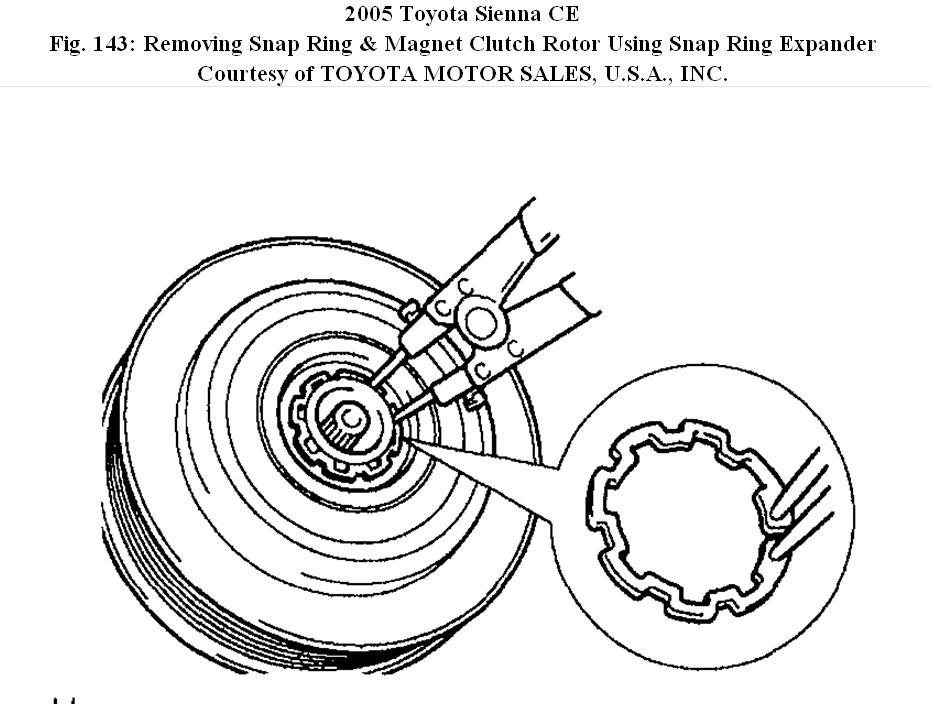 2005 toyota sienna compressor clutch intermittent engagement  the