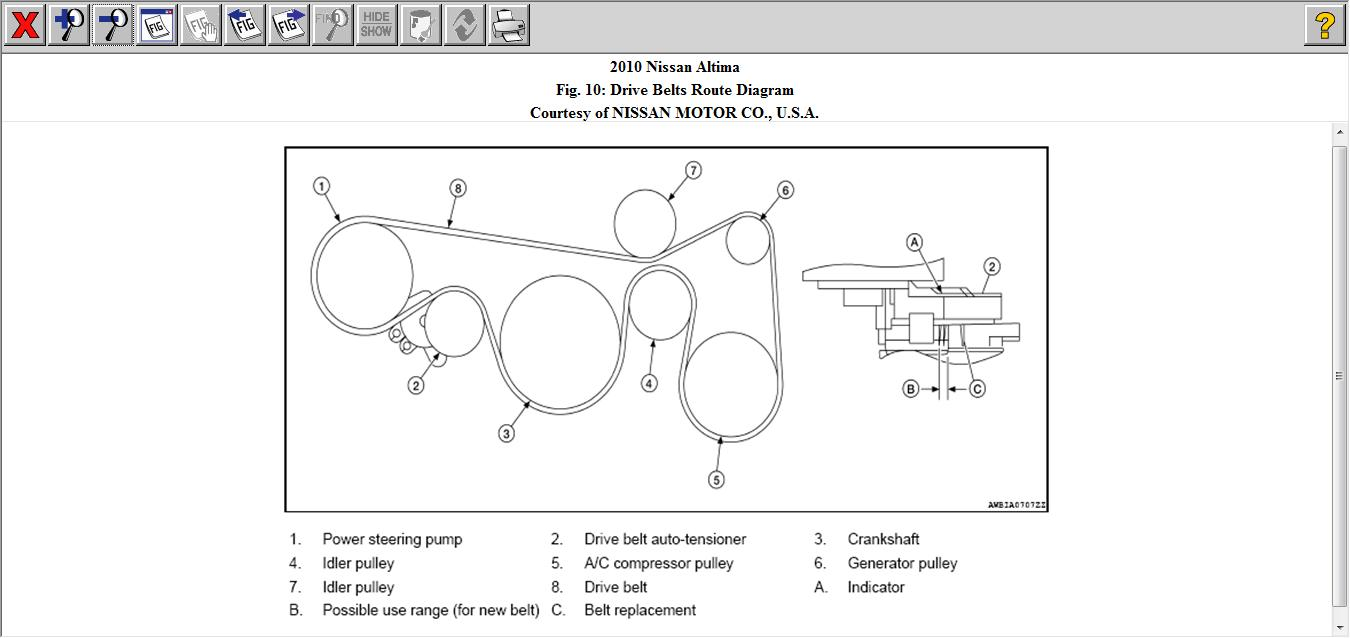 drive belt routing 2010 nissan altima is the drive belt 08 Nissan Altima Engine