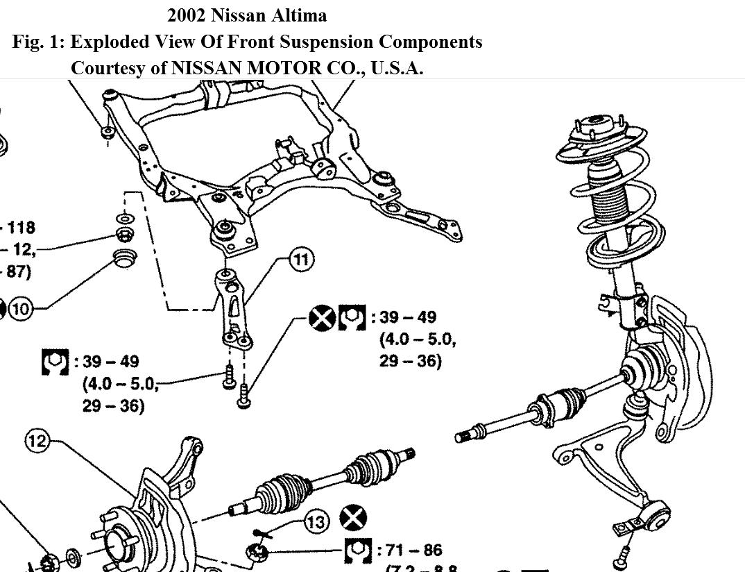 nissan altima suspension diagram