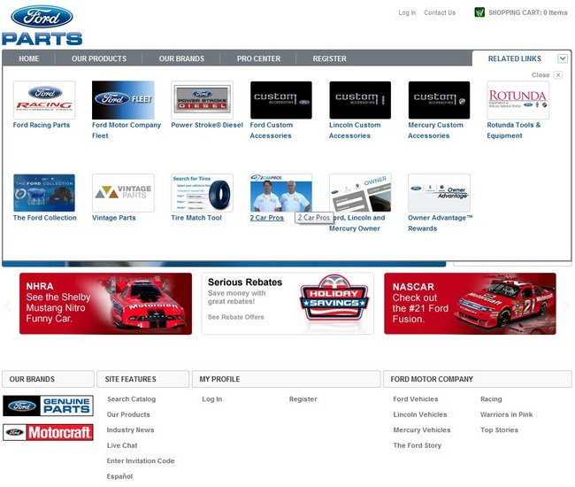 Fordparts features for Ford motor co parts dept
